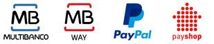 Métodos de pagamento disponibizados: Multibanco, Mbway, Paypal, Payshop