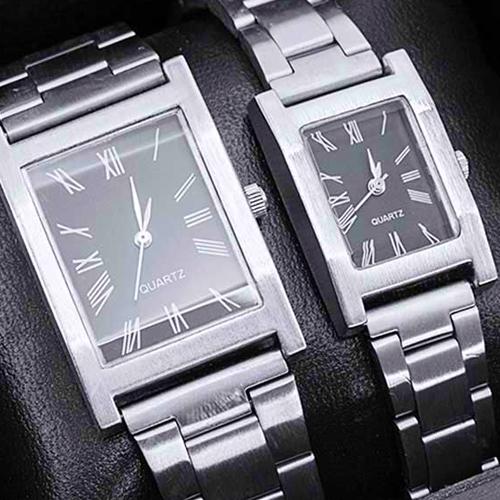 Conjunto de 2 relógios para homem e mulher de design clássico